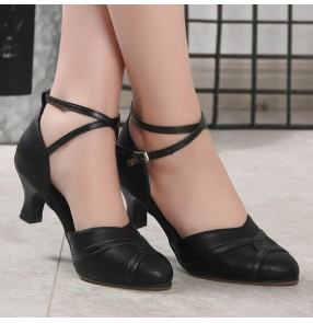 Women black red genuine Leather ballroom dance Latin dance shoes adult dance shoes ladies high-heeled square dance women's salsa chacha dance shoes