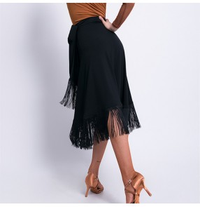 Women Black red Latin dance fringed skirt Latin performance hip scarf mid-length apron lace salsa rumba chacha dance wrap skirt for female