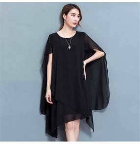 Women Black red plus size chiffon loose dress Enlarged loose and thin cloak cover belly chiffon dress