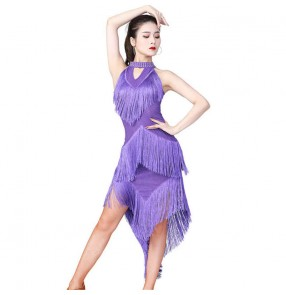 Women black red purple blue Latin dance skirt competition latin dance clothing sequined Latin dance dress irregular fringed  chacha salsa rumba stage performance clothing