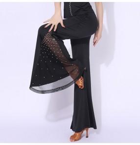 Women  Black red rhinesotnes Latin dance pants lady bell-bottomed ballroom Dance trousers modern dance pants