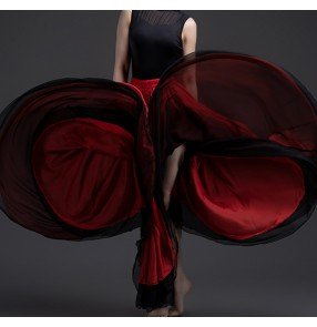 Women black red white flamenco dance skirts spanish bull dance paso double dance double layers swing skirts classical stage performance costumes one size