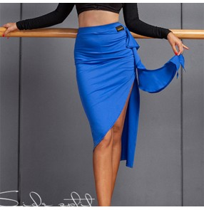 Women black royal blue fringed Latin dance skirt side split salsa rumba chacha short skirt national standard modern practice clothes