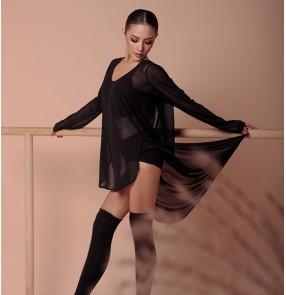 women Black salsa rumba chacha Latin dance tops practice clothes dresses women loose net gauze beauty back strappy tops