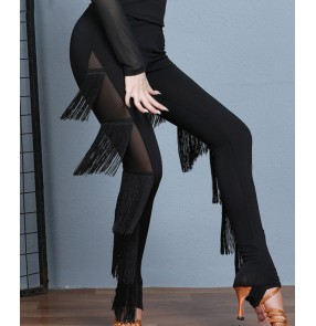 Women black tassels Latin dance pants female adult fringed tight trousers performance dance practice trousers dance pants