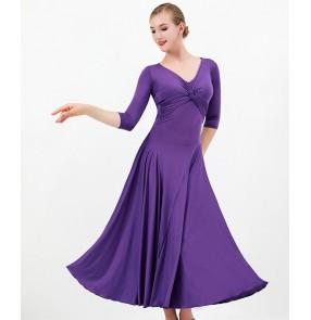 Women Black violet women Ballroom dance dresses V-neck modern dance ballroom dance skirt Tango walt foxtrot dance gown