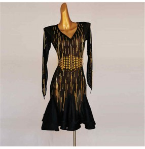 Women black with gold rhinestones competition latin dance dresses stage performance long sleeves v neck latin dance costumes salsa rumba chacha dance dress for female