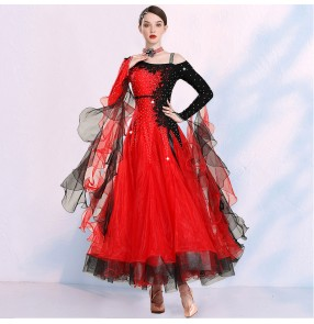 Women black with red apricot diamond competition Waltz Tango ballroom dance dresses big swing skirt competition smooth foxtrot dance dresses