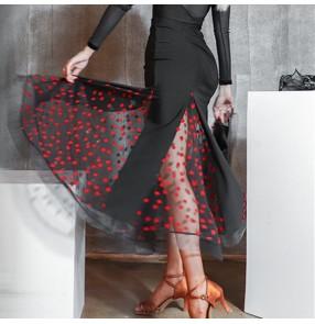 Women black with red ballroom dancing skirts waltz tango foxtort dance half skirt women Patchwork modern skirt Hip fish bone practice skirt