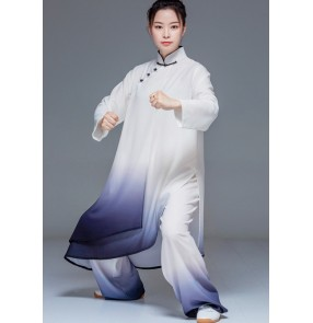 Women black with white gradient Tai Chi clothing Chinese kungfu uniforms female gradual martial arts wushu performance morning exercises Tai Chi practice suit