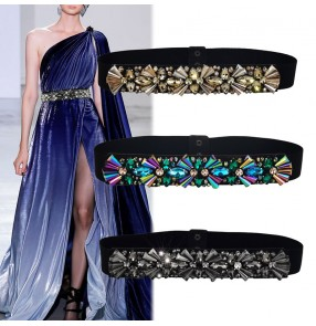 Women bling waistline dresses belt Female slender girdle dress crystal rhinestones elastic sashes fashion host singers model show waist belt
