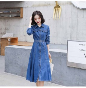 Women blue Denim dress mid-length jeans dress for female Korean fashion waist long-sleeved casual long skirt denim shirt dresses