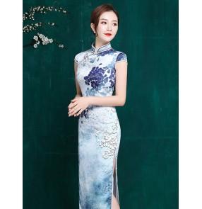 Women blue floral printed chinese dresses traditional oriental qipao cheongsam dress miss etiquette model show host singers performance dresses