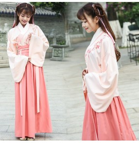 Women Chinese ancient Hanfu dresses for girls Chinese Folk Vintage Orient Tang Dynasty school stage performance Cosplay Costumes
