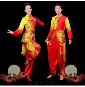 Women chinese dragon Drumming performance Costume wushu clothing Female and male Lantern Dance Waist Drum Water Drum Dragon Lion Dance Performance Costume