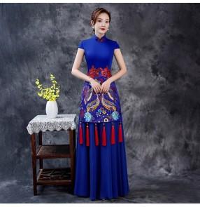 Women chinese dress oriental qipao dresses evening dress White Red chiffon model catwalk team performance miss etiquette cheongsam stage chorus dresses