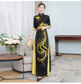 Women Chinese Dresses chinese dragon oriental style qipao dresses Ao Dai long cheongsam Chinese style Vietnam catwalk miss etiquette performance dresses
