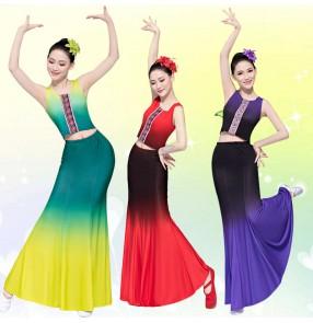 women chinese folk Dai Dance Costumes Art Test Dance belly dance skirts Practice Fishtail Skirt Peacock Dance Performance Costumes