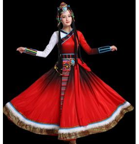 Women chinese folk dance dress mogolian dance dress tibet minority stage performance dress costumes