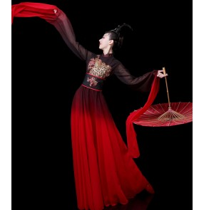 Women chinese folk dance dress red black gradient waterfall fairy dress Traditional classical dance costume Han Tang Ming Song princess dance dress