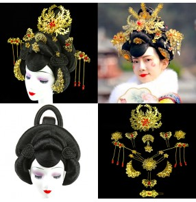 Women chinese Han tang dynasty empress cosplay wig and headdress film drama cosplay queen performance imperial concubine's head cover hair accessories headdress wig