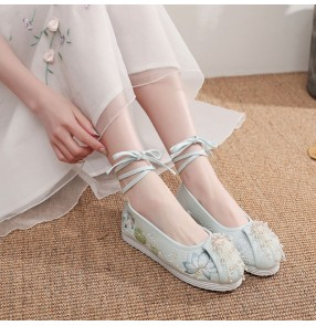 Women chinese hanfu fairy shoes for female stage performance drama cosplay lotus embroidered pattern chinese ancient traditional folk clothing shoes