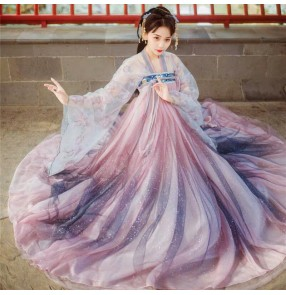 Women Chinese Hanfu female big sleeve ancient fairy princess cosplay costume fairy suit full chest skirt fairy skirt