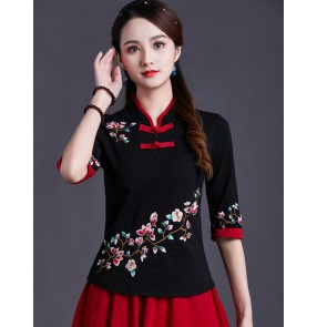 Women chinese retro qipao tops oriental embroidred cheongsam chinese dresses blouses shirts for female