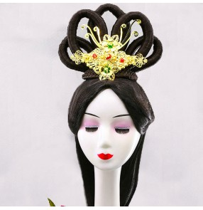 Women Chinese traditional Han Tang empress queen cosplay wig with headdress Imperial concubine hanfu dress stage performance wig Dunhuang Fairy Hair Bun