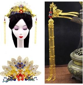 Women Chinese traditional hanfu empress cosplay Hairpin Golden phoenix crown drama ancient queen headdress for girls Fengchai Long Tassel Pendant hair accessories