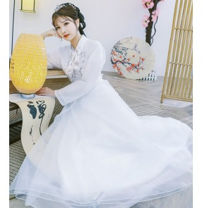 Women chinese white pink Hanfu female classical dance costume fairy princess empress cosplay dresses girl student guzheng ancient style performance costumes