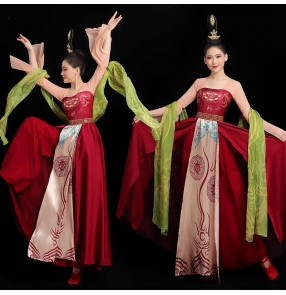 Women Classical hanfu Chinese han tang dynasty Dance Performance Costume Female Herbarium Skirt Tang Han fiary princess performance dresses