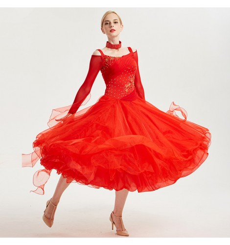766072fe7 Women competition stage performance ballroom dance dress for female lady  professional waltz tango dance skirt costumes dress