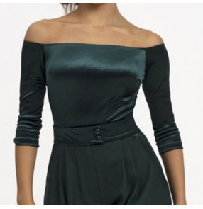 Women dark green velvet ballroom latin dance tops female national standard dance boat neckline blouse three-quarter sleeve ballroom dance sexy off-shoulder top