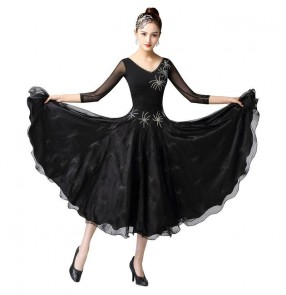 Women diamond competition black ballroom dance dresses ballroom dancing skirts professional stage performance waltz tango dance dress ballroom dance clothing for female