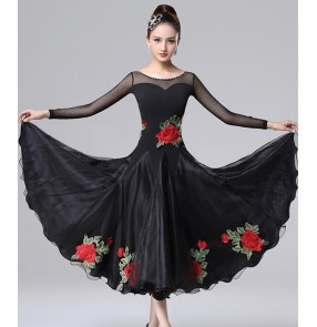Women diamond with rose flowers black competition ballroom dance dresses female professional ballroom dance skirts waltz tango dance dresses