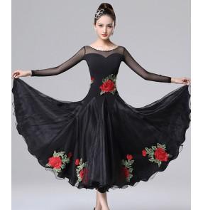Women diamond with rose flowers black competition ballroom dance dresses female professional ballroom dance skirts waltz tango dance dresses