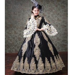 Women European-style court palace evening performance costumes Stage car flower retro dinner photos shooting medieval dresses host female