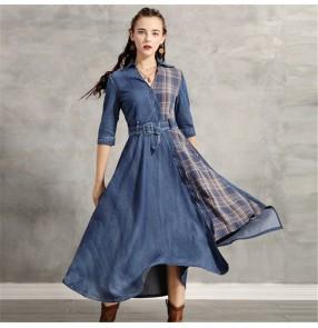Women fashion denim plaid dresses casual long shirt dresses retro irregular hem dress for female