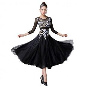 women female Black with leopard ballroom dancing dresses stage performance waltz tango dance dresses costumes