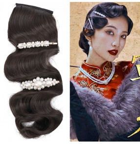 Women film drama cosplay hair bangs hair accessories Studio Hair Film Republic of China Retro Shanghai cheongsam dresses show wave bangs