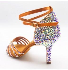 Women flesh color rhinestones competition latin ballroom dance shoes stage performance waltz tango foxtort flamenco dance sandal shoes for lady