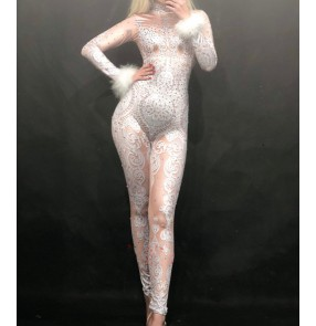 Women flesh printed bling jazz dance jumpsuits Nightclub female singer prom party concert Dj Ds gogo dance Furry sleeve lace one-piece rompers for adult stage costume