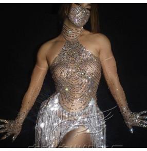 Women flesh rhinestones gogo dancers bodysuits female sexy Mesh fringed stretch prom carnival party one-piece jumpsuits nightclub bar jazz dance costumes