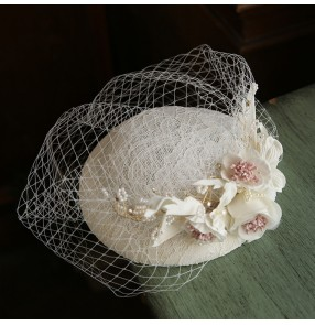 Women French Ivory lace fascinators veil pillbox hats retro mesh small top hat female wedding dress accessories
