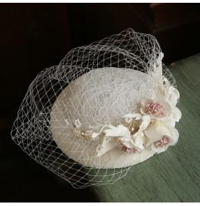 Women French Ivory lace fascinators veil pillbox hats retro mesh small top hat female wedding dress accessories