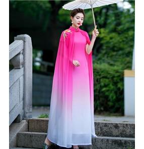 Women fuchsia purple blue gradient chinese dress oriental qipao fairy dress cheongsam miss etiquette singers host performance photos dresses with cape