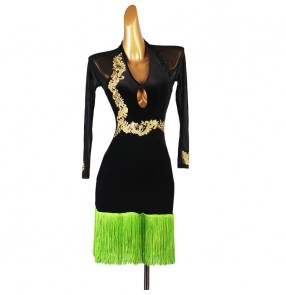 Women girls black with green fringe latin dance dresses long sleeves diamond competition stage performance rumba chacha dance clothing latin dance skirts for lady