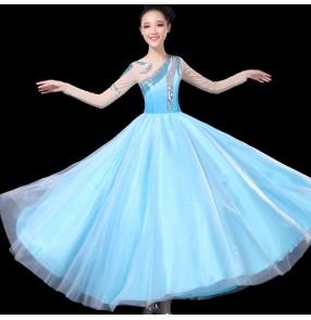 Women girls blue with silver pink  modern dance dresses choir dresses opening dance stage performance chorus dresses