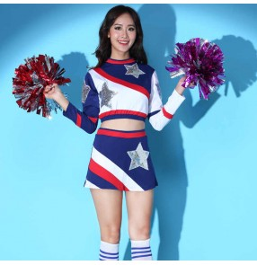 Women girls blue with white Cheerleading performance clothing female long-sleeved new student sports games outfits cheerleading aerobics group dance performance clothing